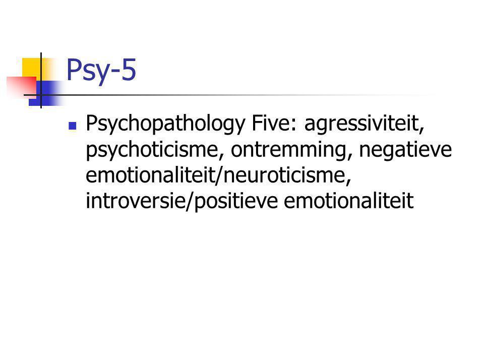Psy-5 Psychopathology Five: agressiviteit, psychoticisme, ontremming, negatieve emotionaliteit/neuroticisme, introversie/positieve emotionaliteit.