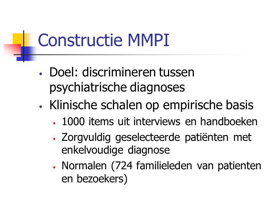 Constructie MMPI Doel: discrimineren tussen psychiatrische diagnoses