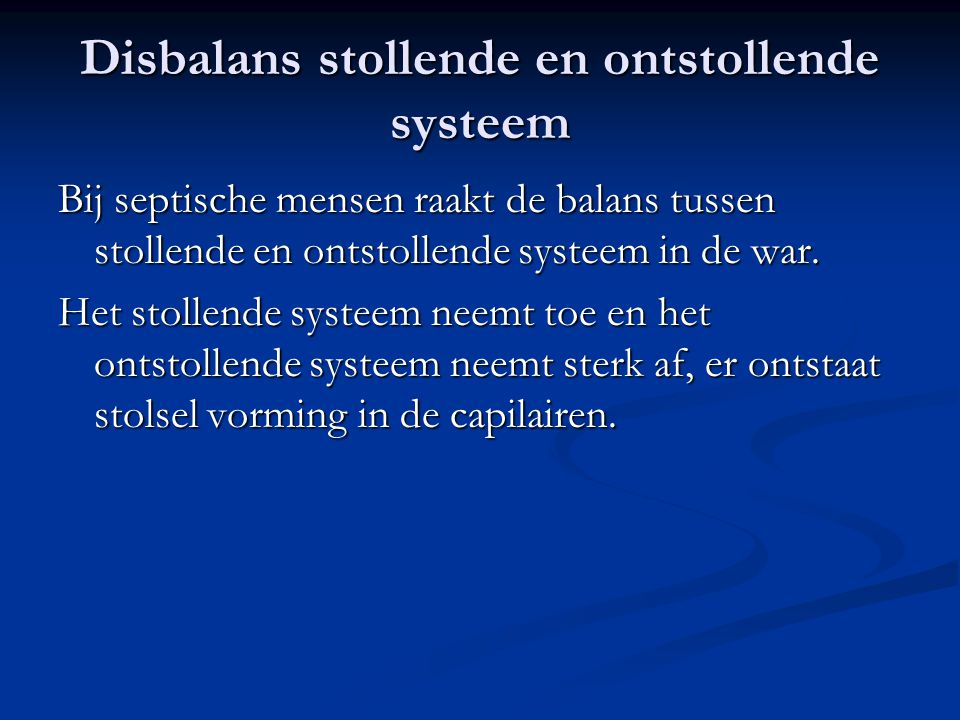 Disbalans stollende en ontstollende systeem