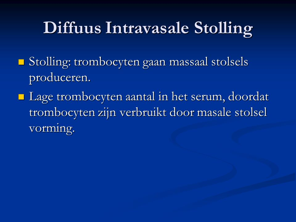 Diffuus Intravasale Stolling