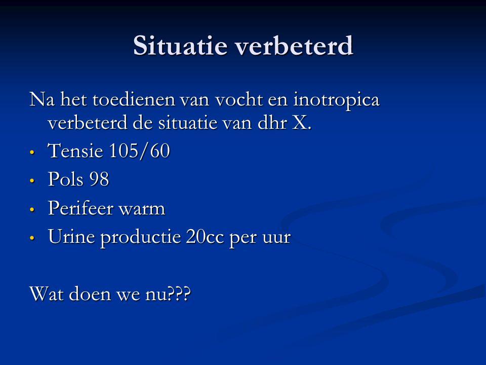 Situatie verbeterd Na het toedienen van vocht en inotropica verbeterd de situatie van dhr X. Tensie 105/60.