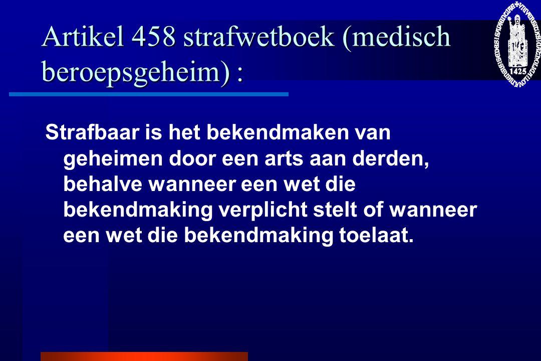 Artikel 458 strafwetboek (medisch beroepsgeheim) :