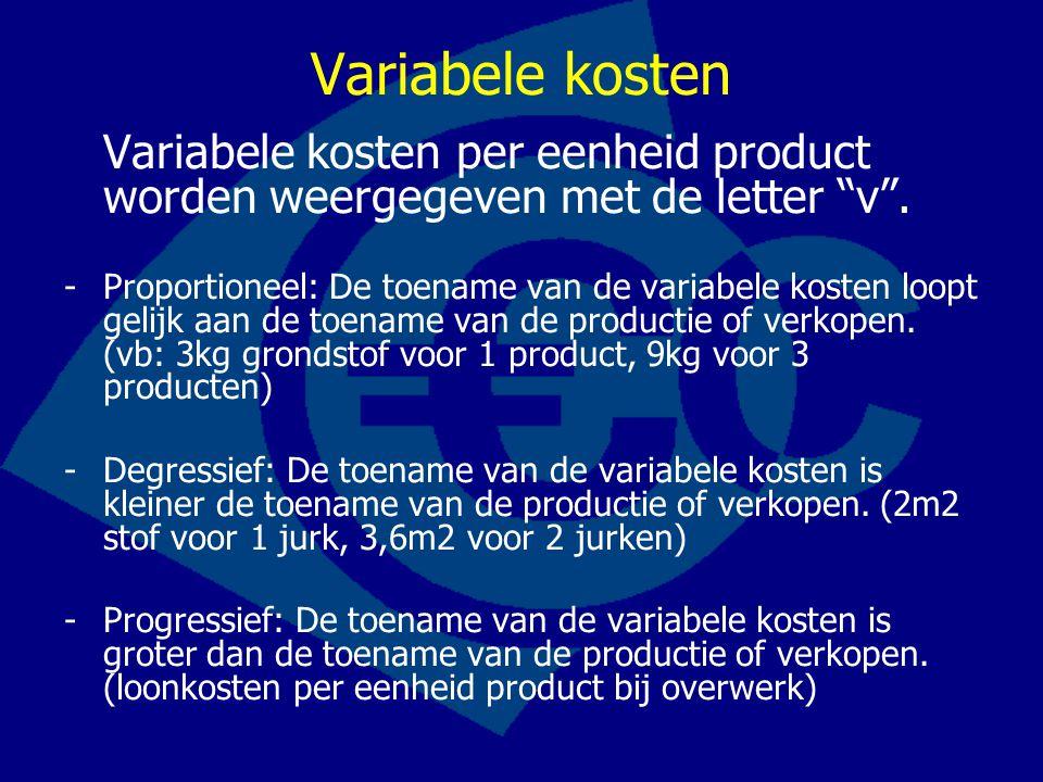 Variabele kosten Variabele kosten per eenheid product worden weergegeven met de letter v .
