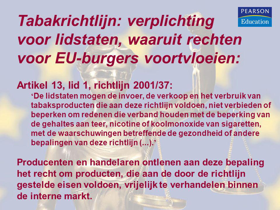 Tabakrichtlijn: verplichting