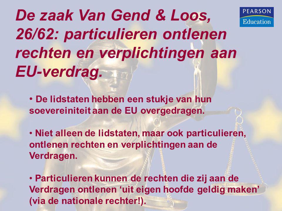 De zaak Van Gend & Loos, 26/62: particulieren ontlenen rechten en verplichtingen aan EU-verdrag.