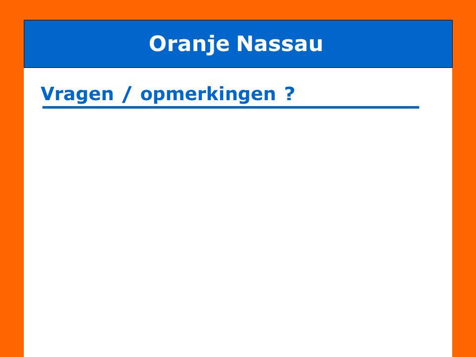 Oranje Nassau Vragen / opmerkingen