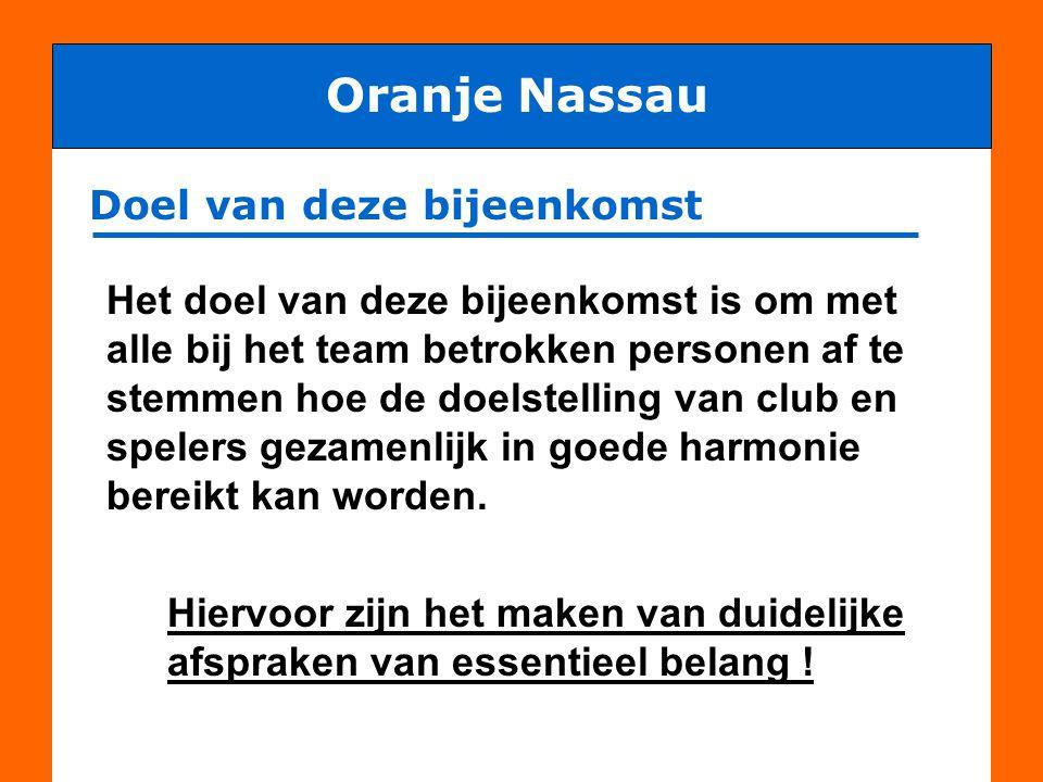 Oranje Nassau Doel van deze bijeenkomst