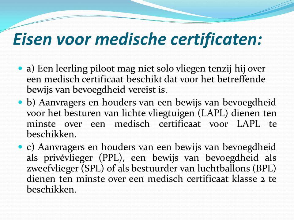 Eisen voor medische certificaten: