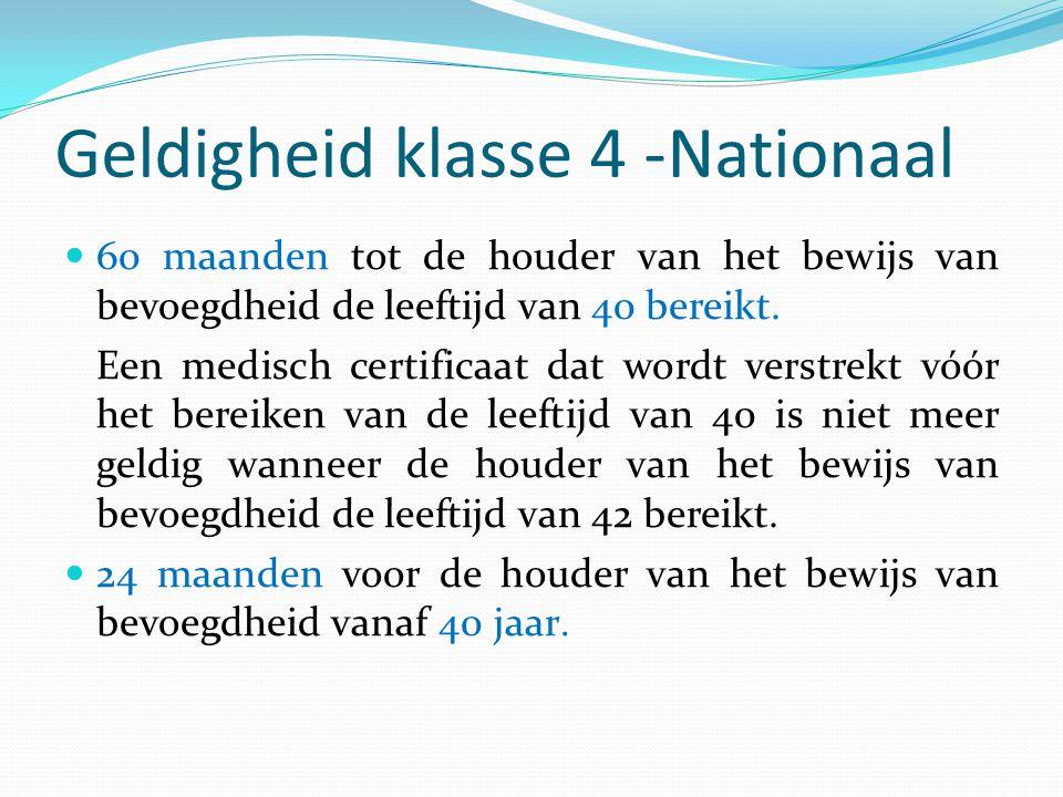 Geldigheid klasse 4 -Nationaal