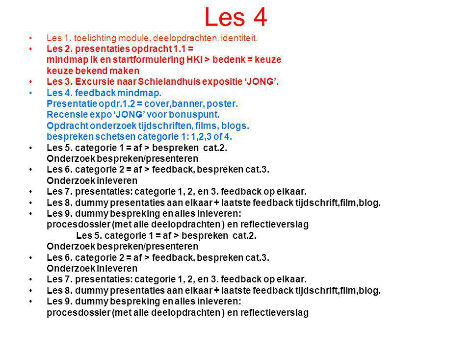 Les 4 Les 1. toelichting module, deelopdrachten, identiteit.