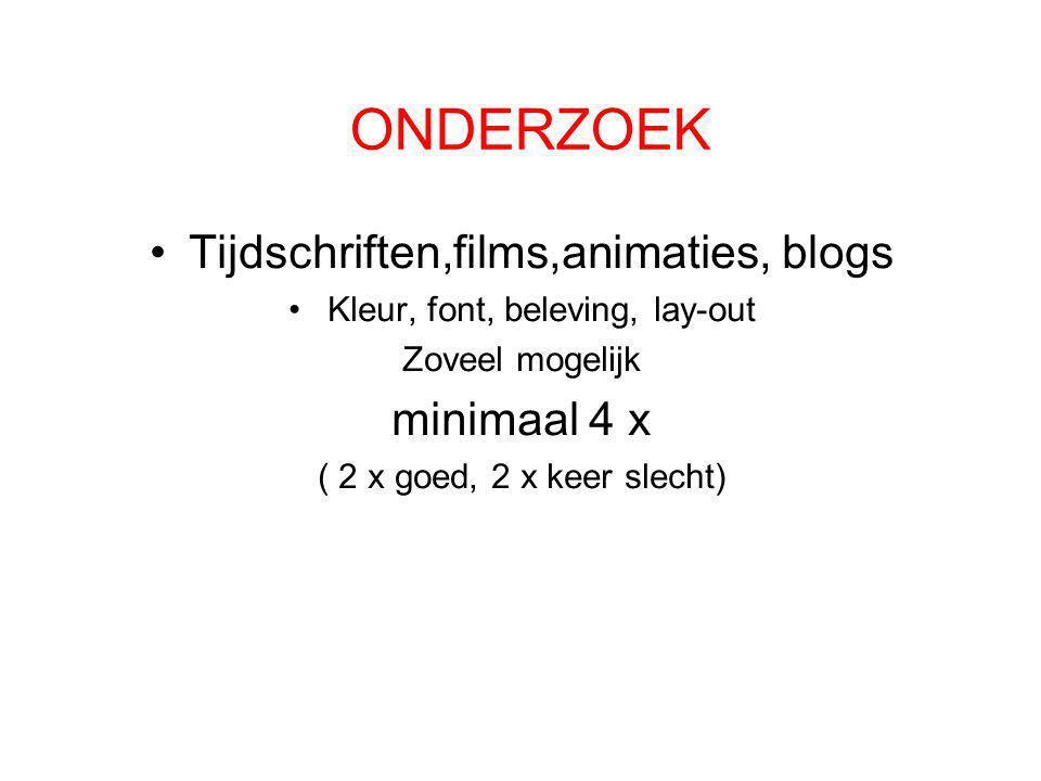 ONDERZOEK Tijdschriften,films,animaties, blogs minimaal 4 x