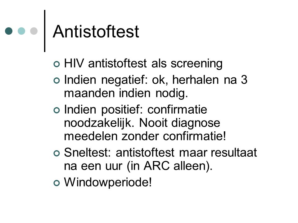 Antistoftest HIV antistoftest als screening