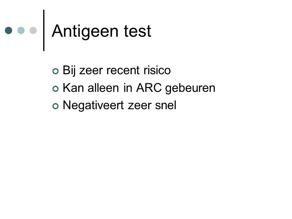 Antigeen test Bij zeer recent risico Kan alleen in ARC gebeuren