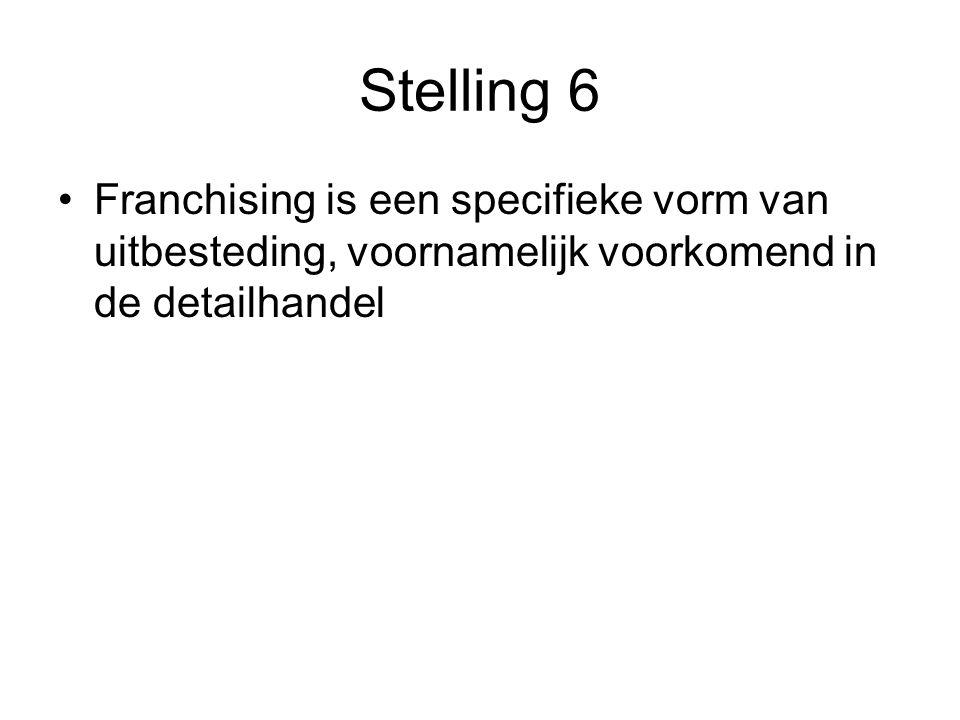 Stelling 6 Franchising is een specifieke vorm van uitbesteding, voornamelijk voorkomend in de detailhandel.