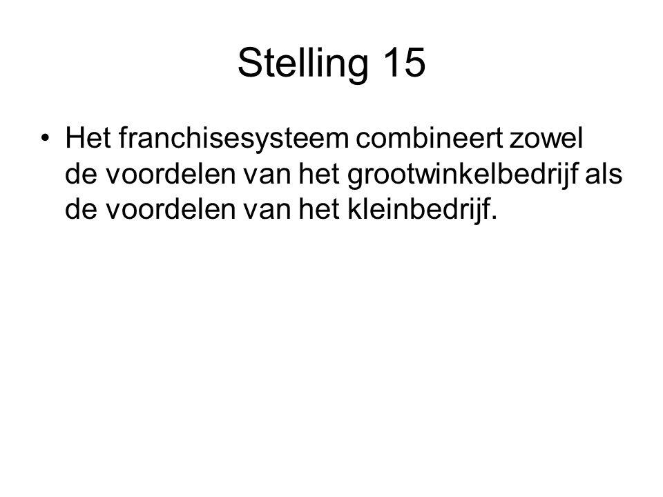 Stelling 15 Het franchisesysteem combineert zowel de voordelen van het grootwinkelbedrijf als de voordelen van het kleinbedrijf.
