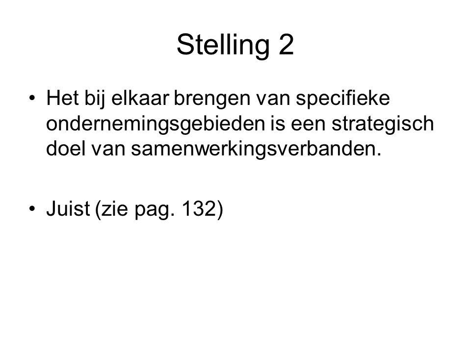 Stelling 2 Het bij elkaar brengen van specifieke ondernemingsgebieden is een strategisch doel van samenwerkingsverbanden.