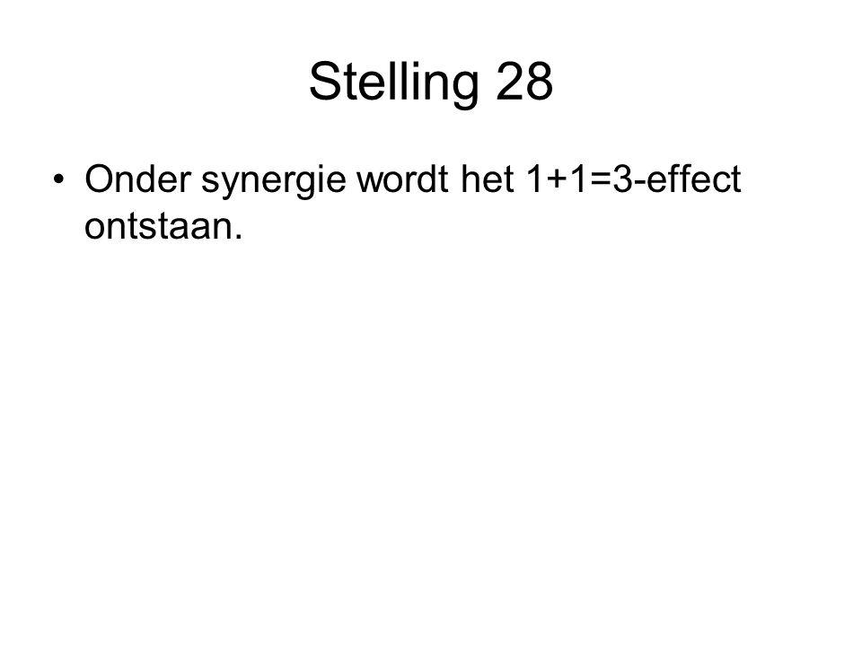 Stelling 28 Onder synergie wordt het 1+1=3-effect ontstaan.