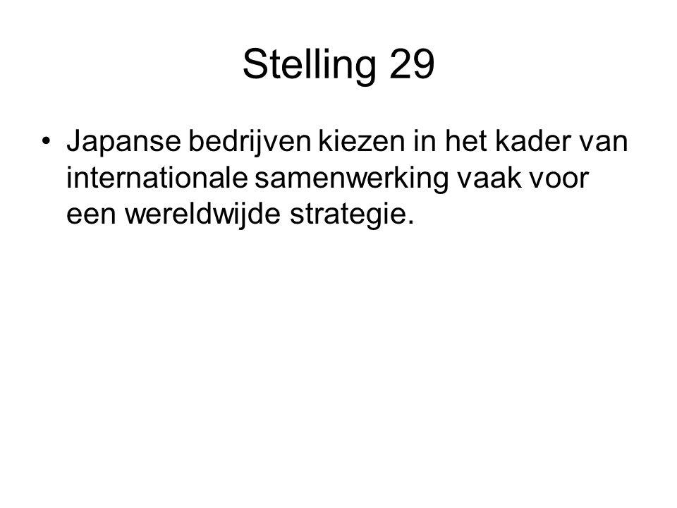 Stelling 29 Japanse bedrijven kiezen in het kader van internationale samenwerking vaak voor een wereldwijde strategie.