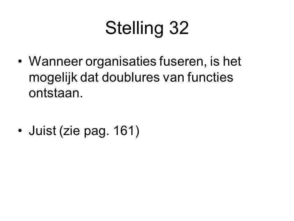 Stelling 32 Wanneer organisaties fuseren, is het mogelijk dat doublures van functies ontstaan.