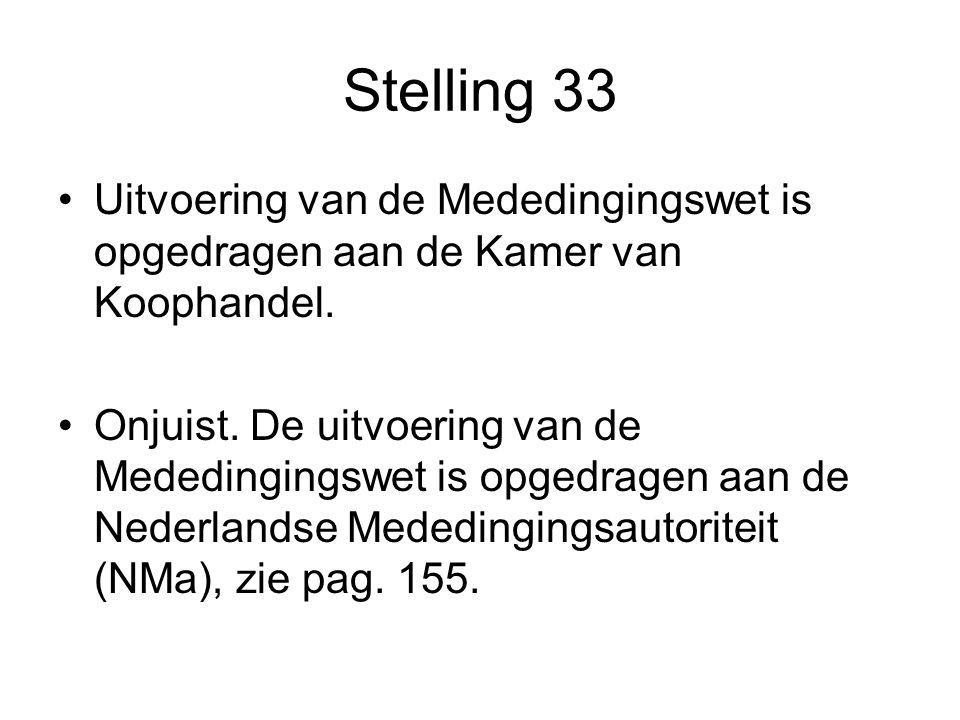 Stelling 33 Uitvoering van de Mededingingswet is opgedragen aan de Kamer van Koophandel.
