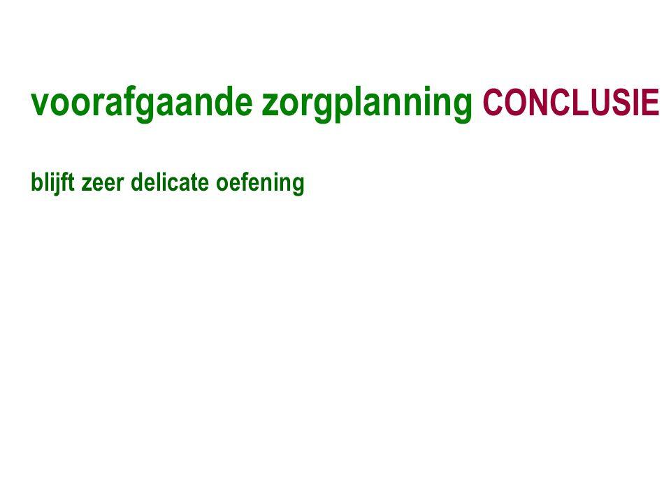 voorafgaande zorgplanning CONCLUSIE