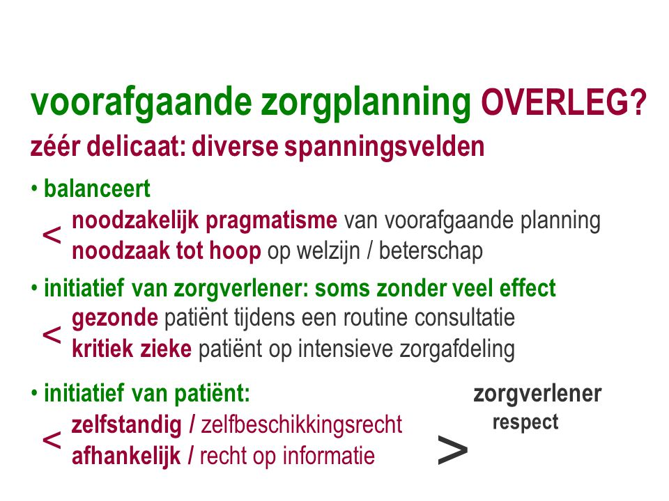 voorafgaande zorgplanning OVERLEG