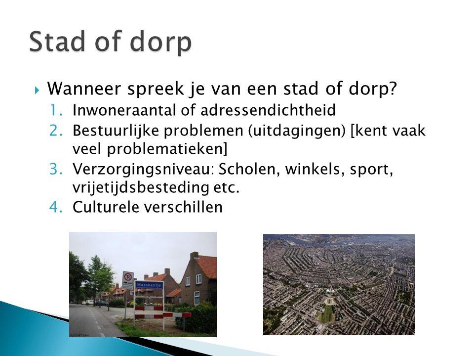 Stad of dorp Wanneer spreek je van een stad of dorp