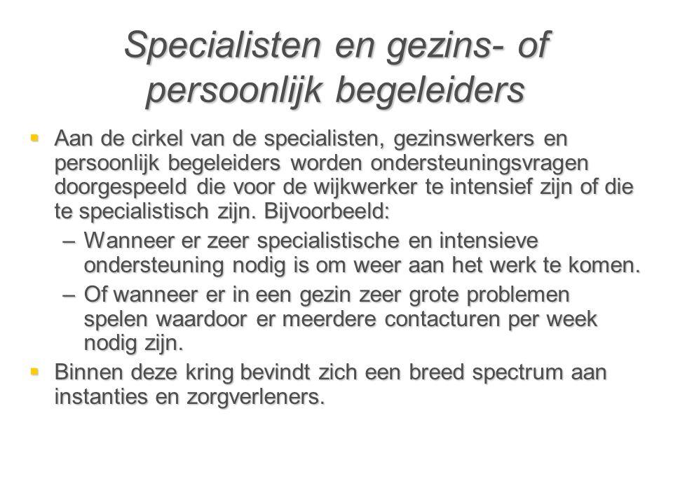 Specialisten en gezins- of persoonlijk begeleiders