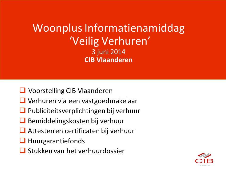 Woonplus Informatienamiddag 'Veilig Verhuren' 3 juni 2014 CIB Vlaanderen