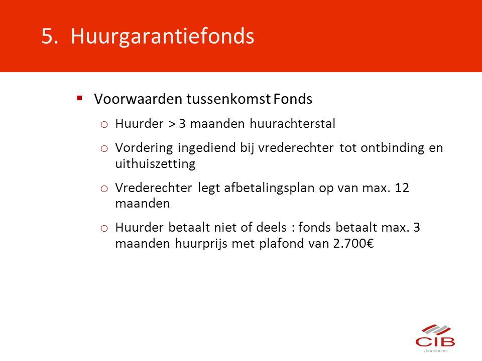 5. Huurgarantiefonds Voorwaarden tussenkomst Fonds