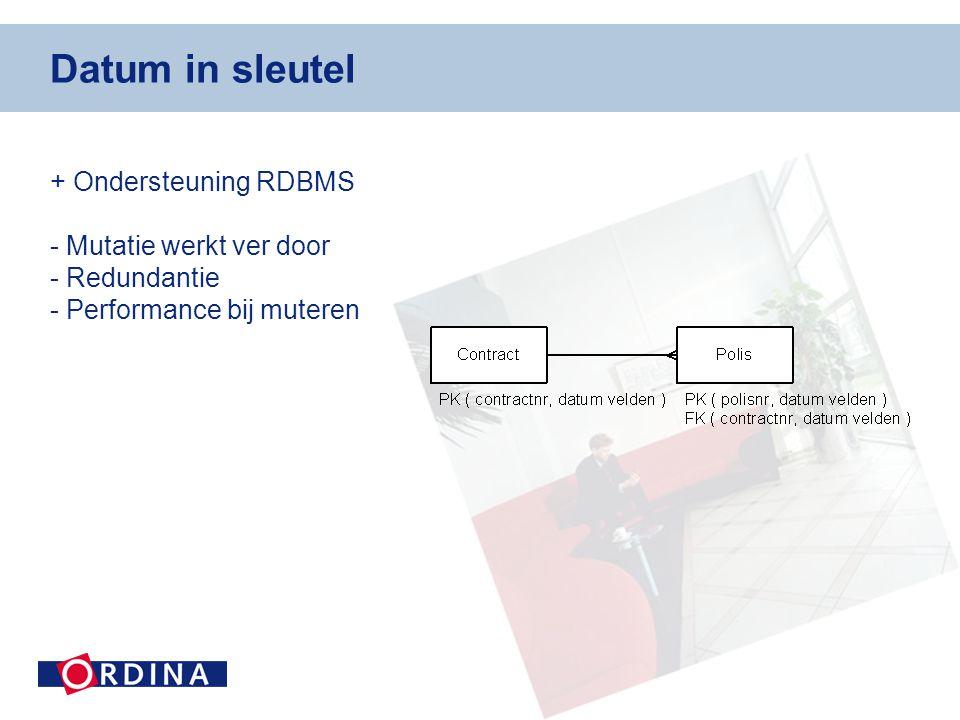 Datum in sleutel + Ondersteuning RDBMS - Mutatie werkt ver door