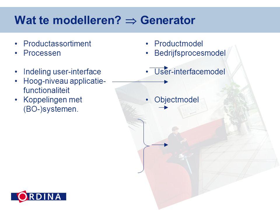 Wat te modelleren  Generator