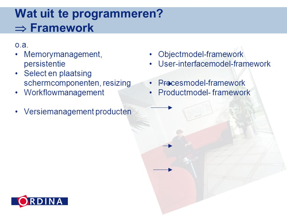 Wat uit te programmeren  Framework