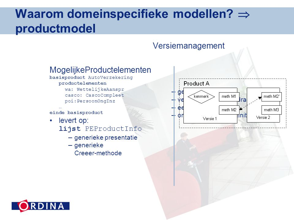 Waarom domeinspecifieke modellen  productmodel