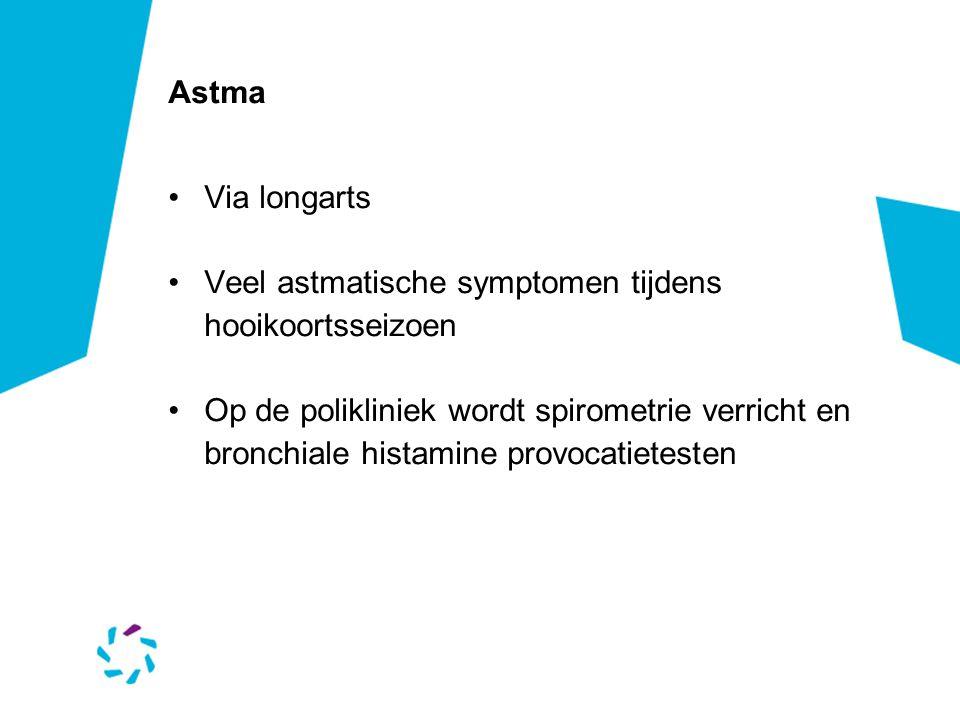 Astma Via longarts. Veel astmatische symptomen tijdens hooikoortsseizoen.