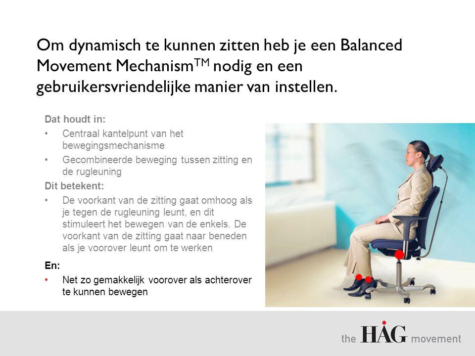 Om dynamisch te kunnen zitten heb je een Balanced Movement MechanismTM nodig en een gebruikersvriendelijke manier van instellen.