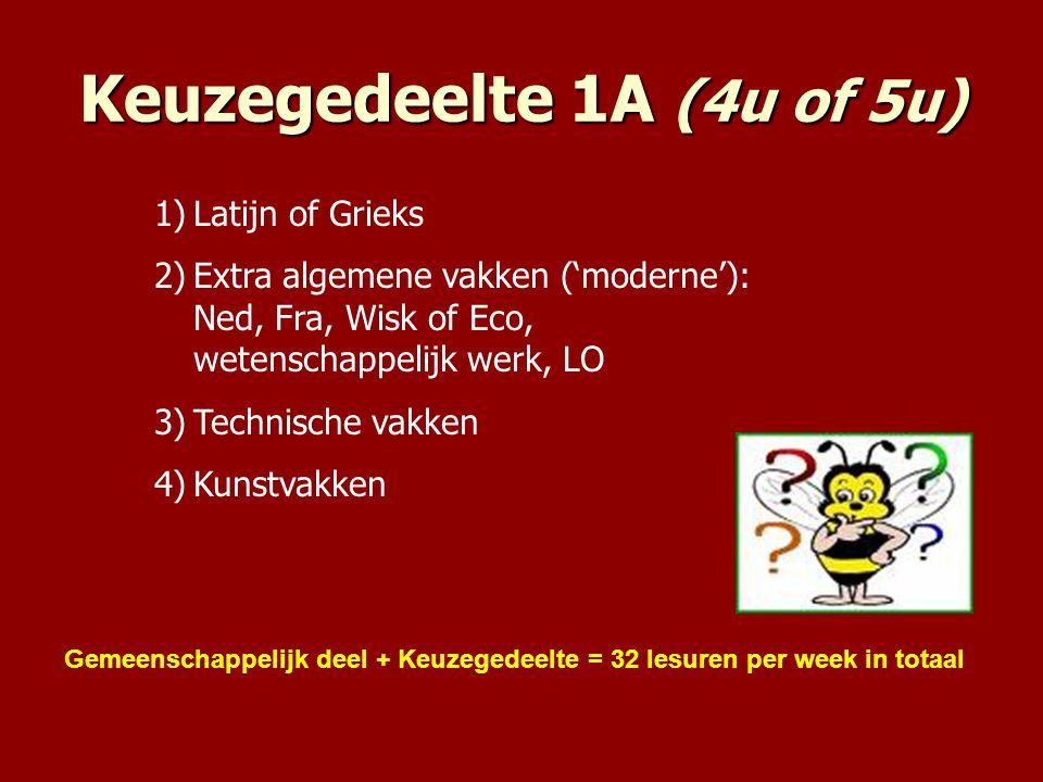 Keuzegedeelte 1A (4u of 5u)