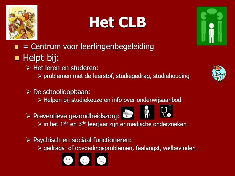 Het CLB Helpt bij: = Centrum voor leerlingenbegeleiding