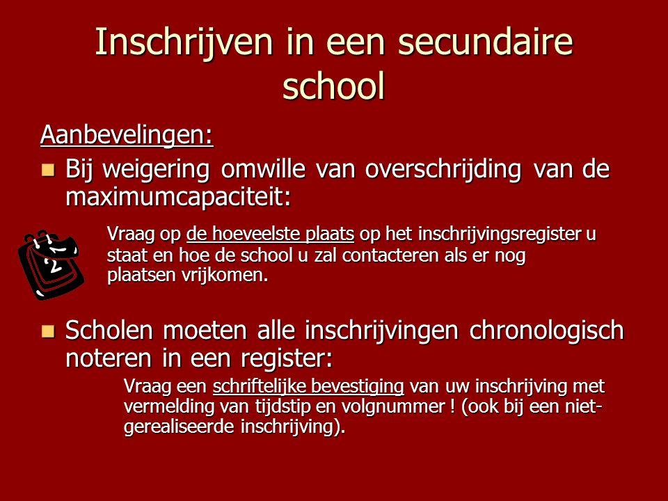Inschrijven in een secundaire school