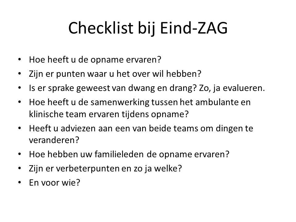 Checklist bij Eind-ZAG