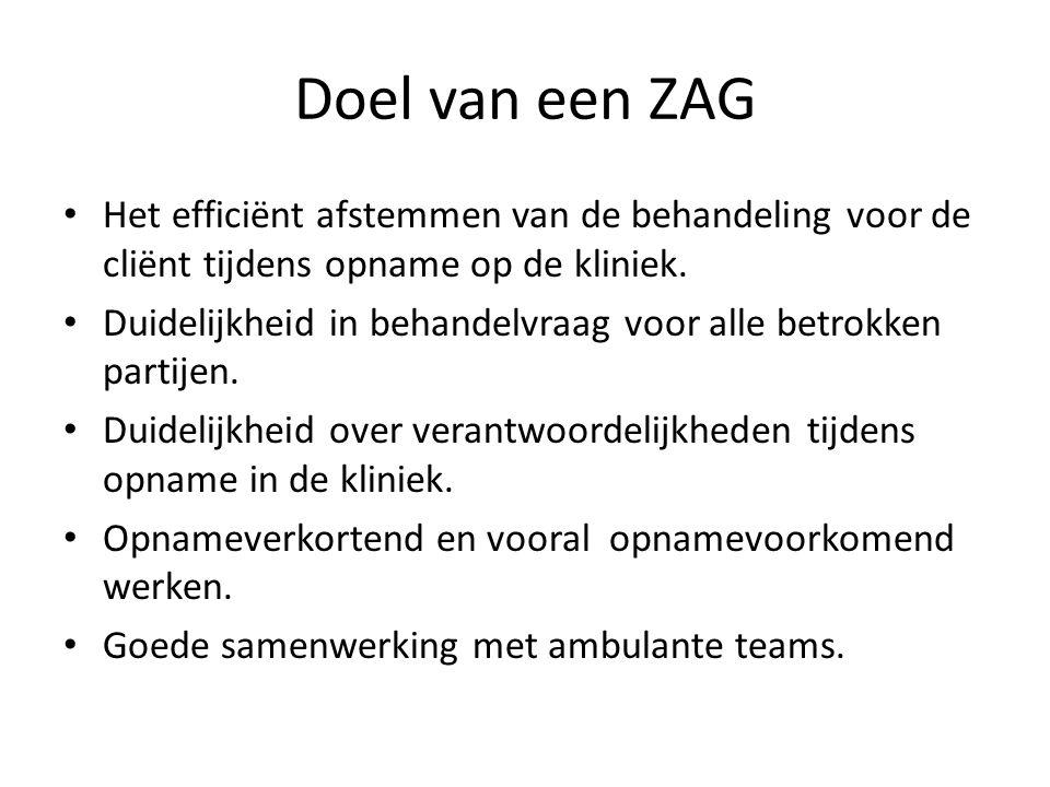 Doel van een ZAG Het efficiënt afstemmen van de behandeling voor de cliënt tijdens opname op de kliniek.