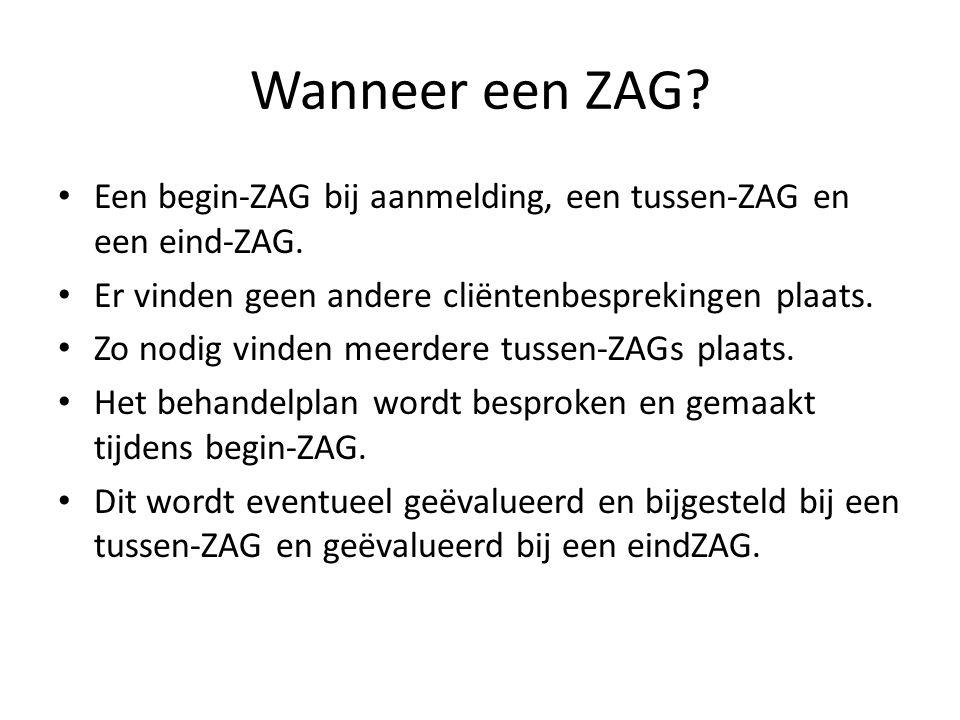 Wanneer een ZAG Een begin-ZAG bij aanmelding, een tussen-ZAG en een eind-ZAG. Er vinden geen andere cliëntenbesprekingen plaats.