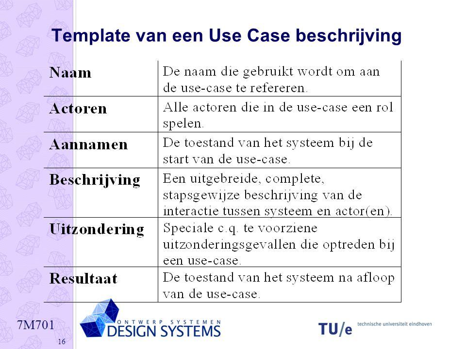 Template van een Use Case beschrijving
