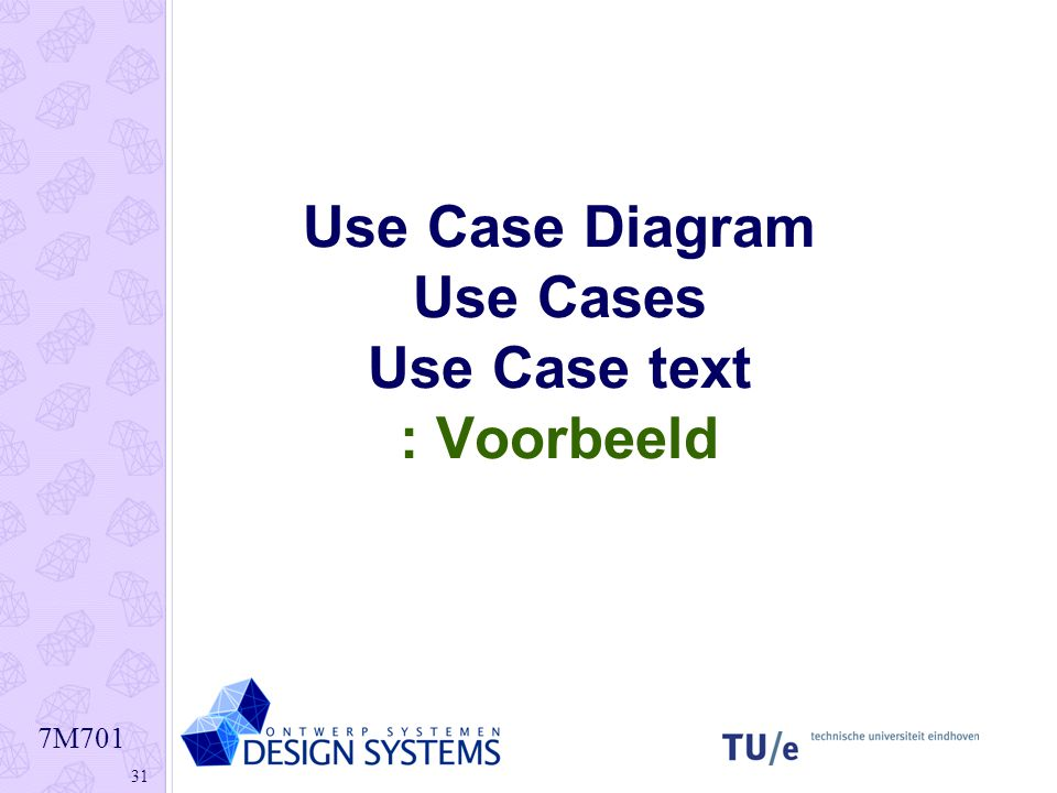 Use Case Diagram Use Cases Use Case text : Voorbeeld