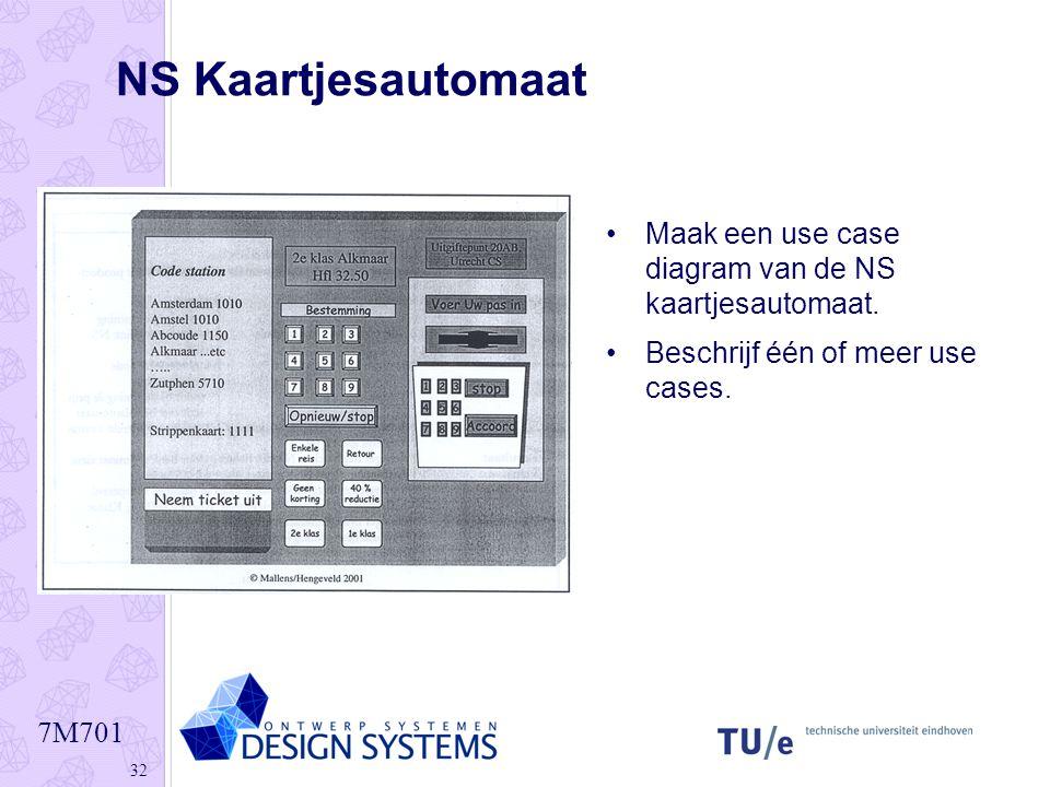 NS Kaartjesautomaat Maak een use case diagram van de NS kaartjesautomaat.