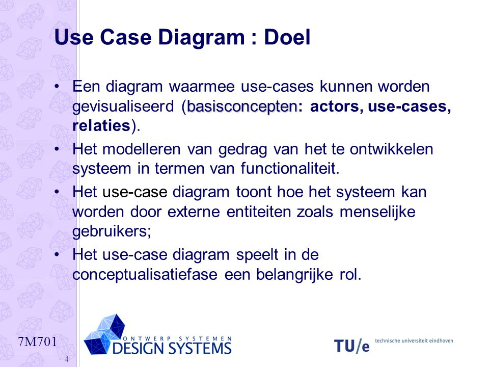 Use Case Diagram : Doel Een diagram waarmee use-cases kunnen worden gevisualiseerd (basisconcepten: actors, use-cases, relaties).