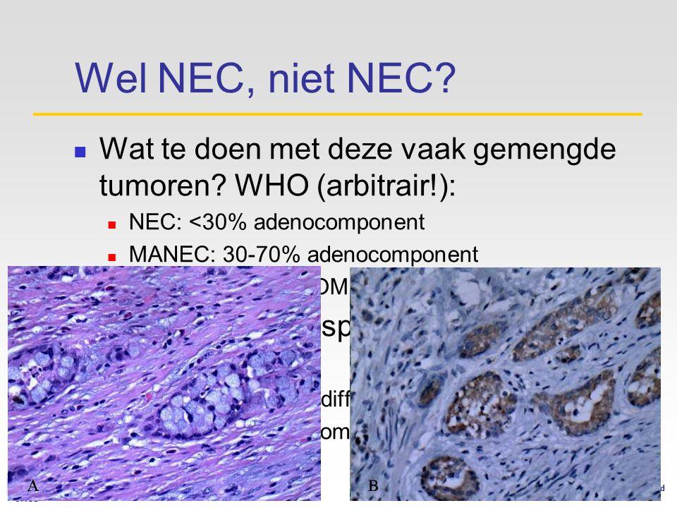Wel NEC, niet NEC Wat te doen met deze vaak gemengde tumoren WHO (arbitrair!): NEC: <30% adenocomponent.