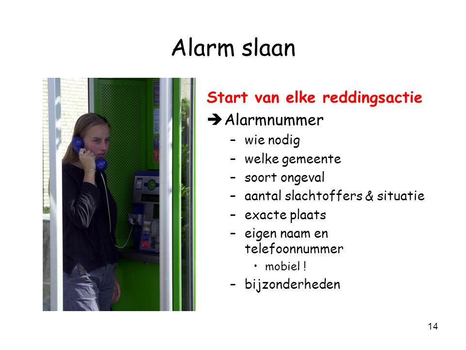 Alarm slaan Start van elke reddingsactie Alarmnummer wie nodig