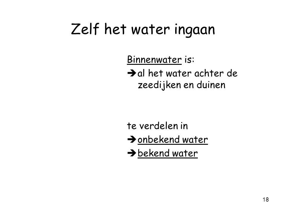 Zelf het water ingaan Binnenwater is: