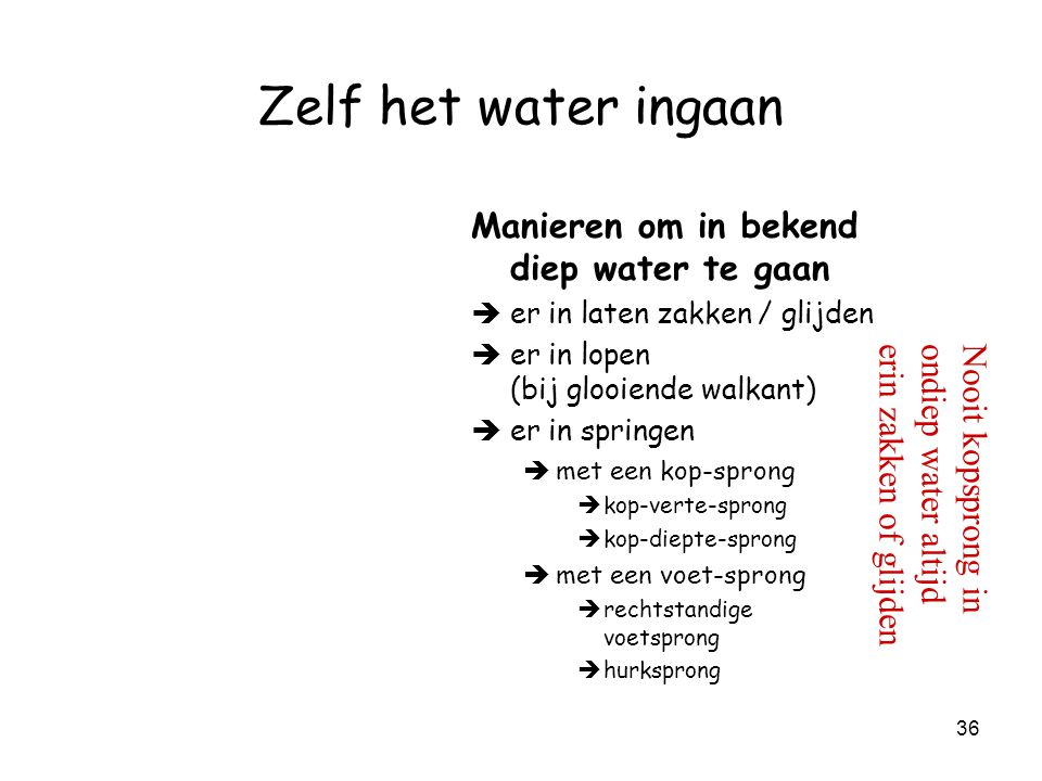 Zelf het water ingaan Manieren om in bekend diep water te gaan